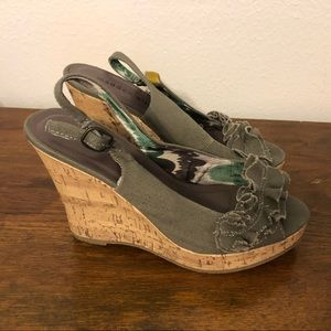 Madden girl green wedges size 7.5